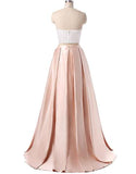 Charming Formal Halter Two Pieces Light Pink Prom Dress, Simple Satin Prom Gowns PFP1014