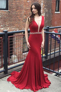 Red Deep V Neck Mermaid Evening Prom Dresses, Long Sexy Party Prom Dress PFP1015