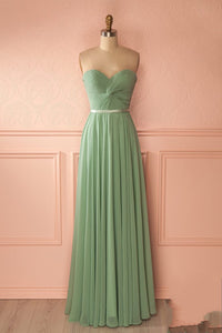 Simple Chiffon Plus Size Sweetheart Prom Dress, Lace-up Back Pleated Prom Dress PFP1016