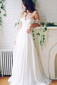 Off-the-shoulder A-line Lace Beach Wedding Dresses,Simple White Chiffon Prom Dresses 2019 PFW0226