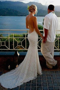 Ivory Spaghetti Straps Sexy Backless Long Lace Mermaid Beach Wedding Dresses PFW0227