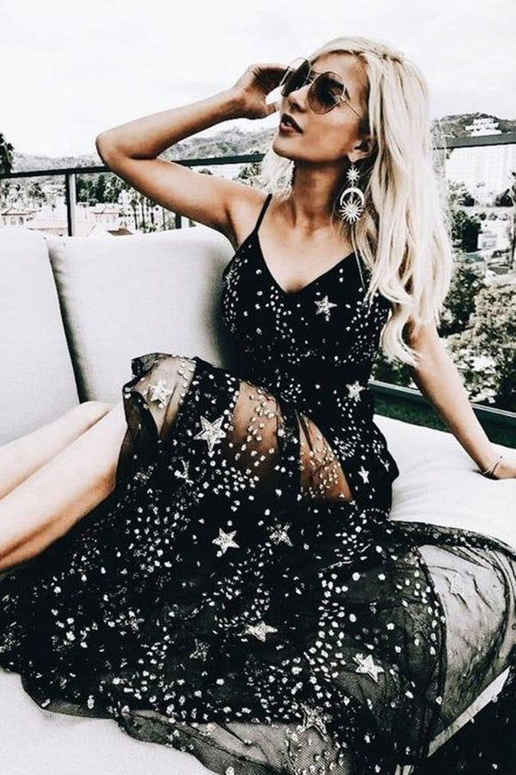 Sexy Sparkly Black Spaghetti Straps A Line Star Long Prom Dress PFP0038