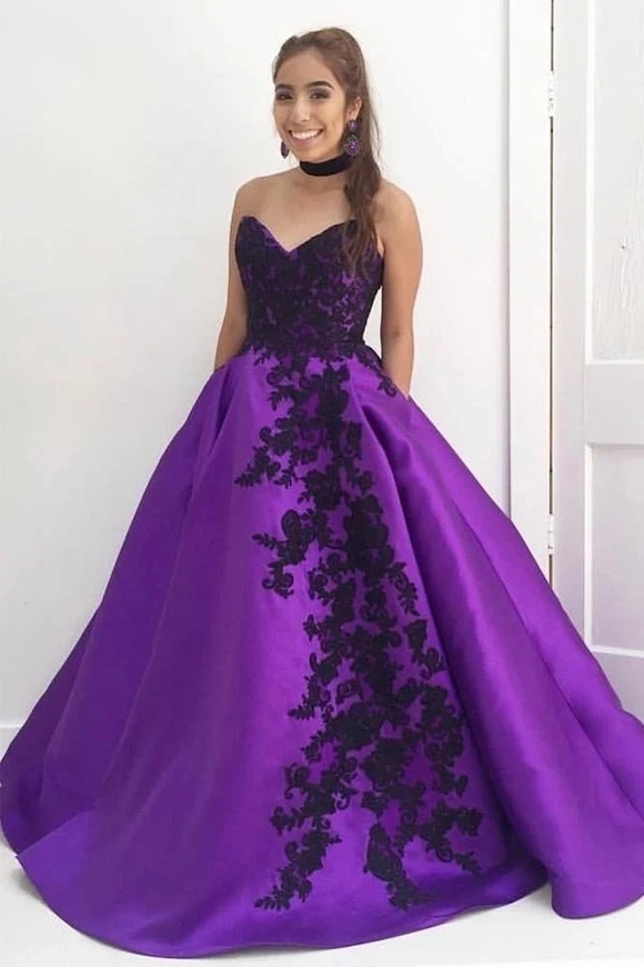 Promfast Ball Gown Seetheart Black Lace Appliques Satin Purple Prom Dresses with Pockets PFP1864