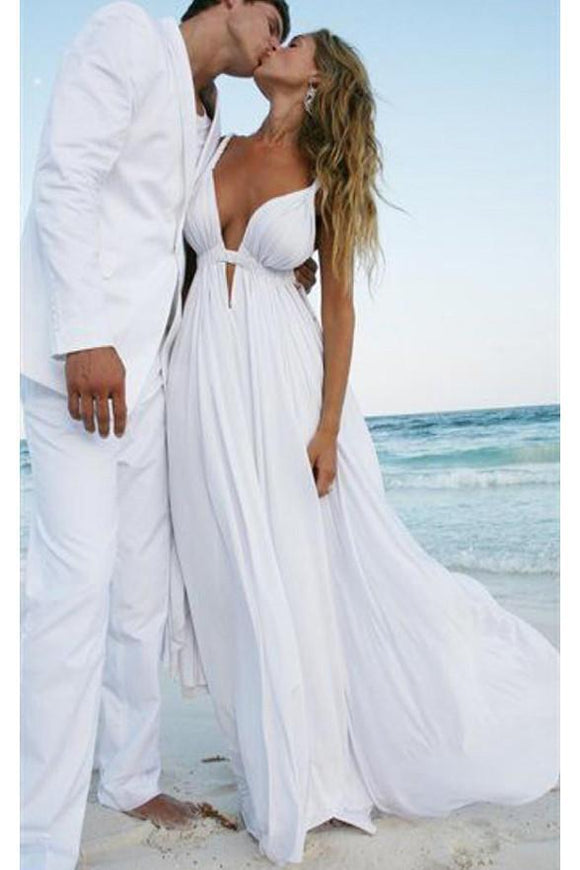 Sexy White Chiffon Deep V-neck Elegant Plus Size Beach Wedding Dresses PFW0229