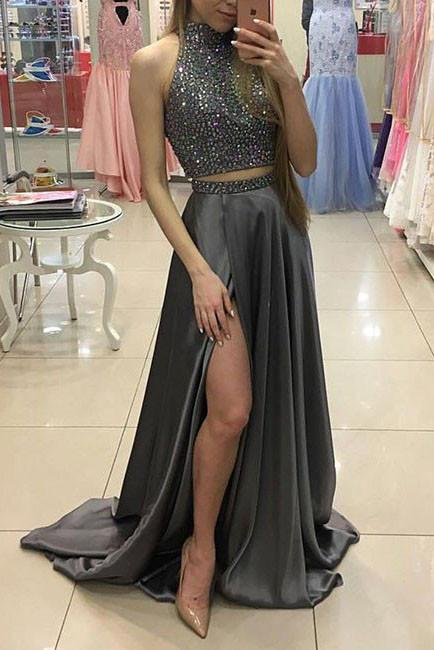 Sexy Two Pieces Beading Gray High Slit Chiffon High Neck Prom Dress 2019 PFP1021