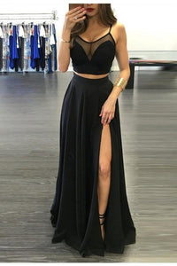 Simple Black Two Pieces Long Cheap Modest Prom Dresses Party Dresses PFP1023