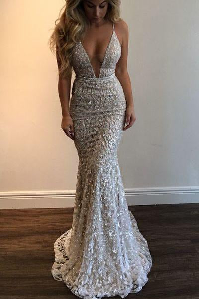 Mermaid 2019 Spaghetti Straps Prom Dress,Beading Lace V-neck Prom Dress Sexy Wedding Dress PFW0256