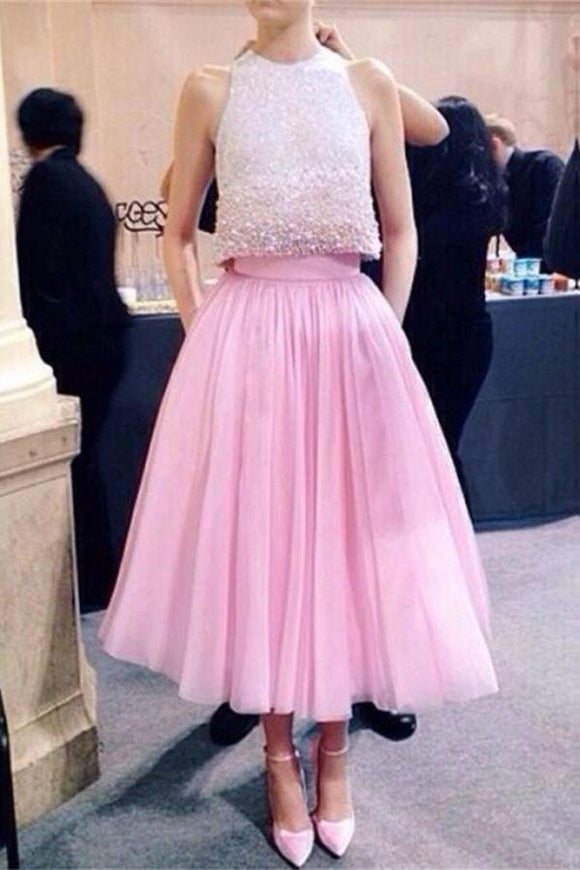 Sparkly Pink Two Pieces Beaded Tea-length Long Prom Dresses For Teens PFP1024