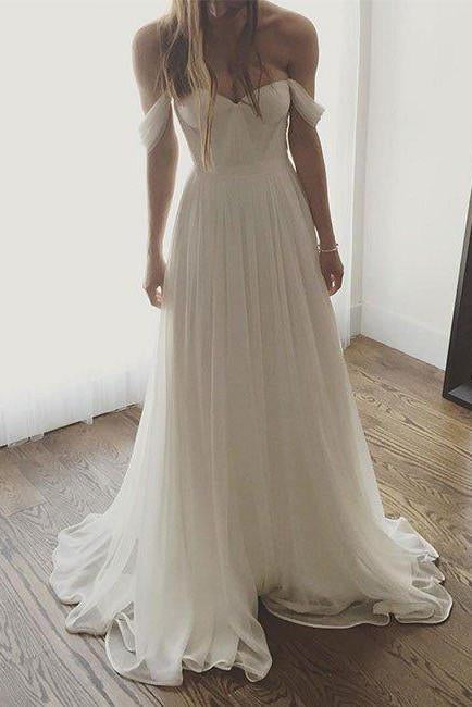 Ivory Chiffon Long Off The Shoulder Wedding Dresses, Simple Long Prom Dress PFW0258