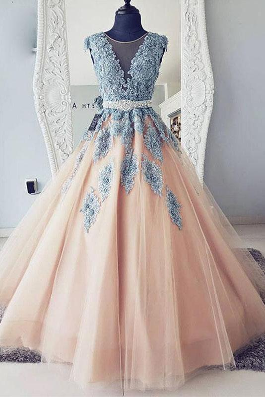 V-neck Blue Lace Ball Gown Long Tulle Evening Dresses,Cheap Prom Dress PFP0011