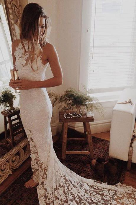Romantic Boho Beach Wedding Dresses,Lace Mermaid Princess Backless Wedding Gowns PFW0260