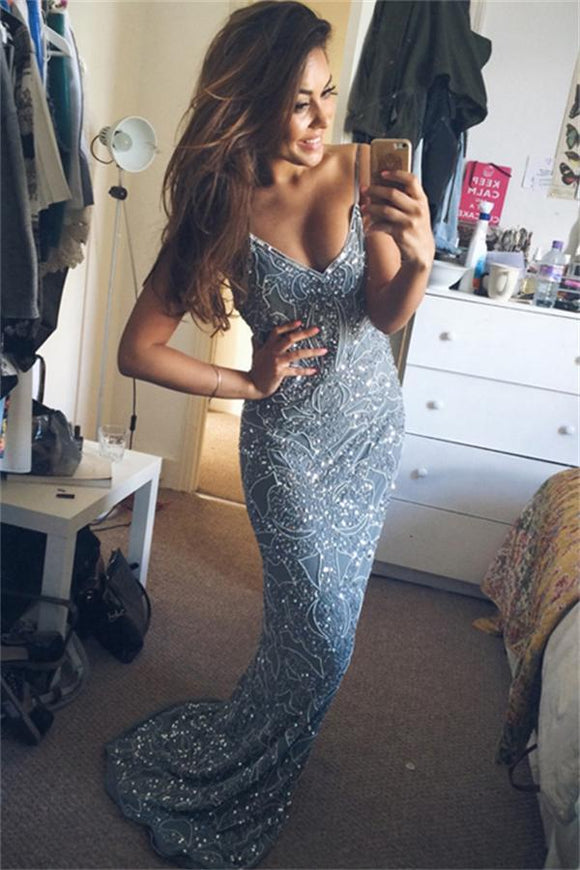 Spaghetti Straps Long Blue V-neck Sparkly Mermaid Prom Dresses For Teens PFP1032