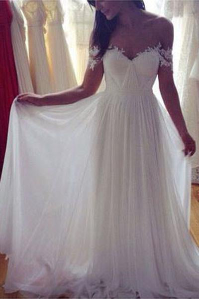 Simple White Long A Line Wedding Dress, Chiffon Off the Shoulder Wedding Dresses PFW0262