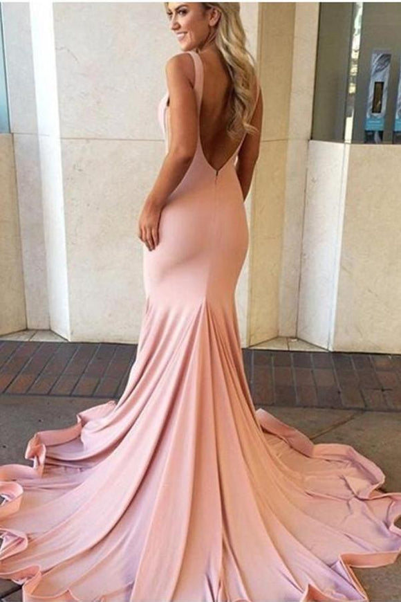 Pink Sweep Train Backless Simple Cheap Mermaid Long Party Prom Dresses PFP1040