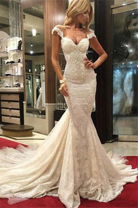 Sexy Mermaid Lace Wedding Dresses 2019 Cap Sleeves Appliques Bridal Gowns PFW0266