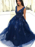 Charming V Neck Navy Blue Lace Appliques Long Prom Dresses, Elegant Evening Dresses PFP0039