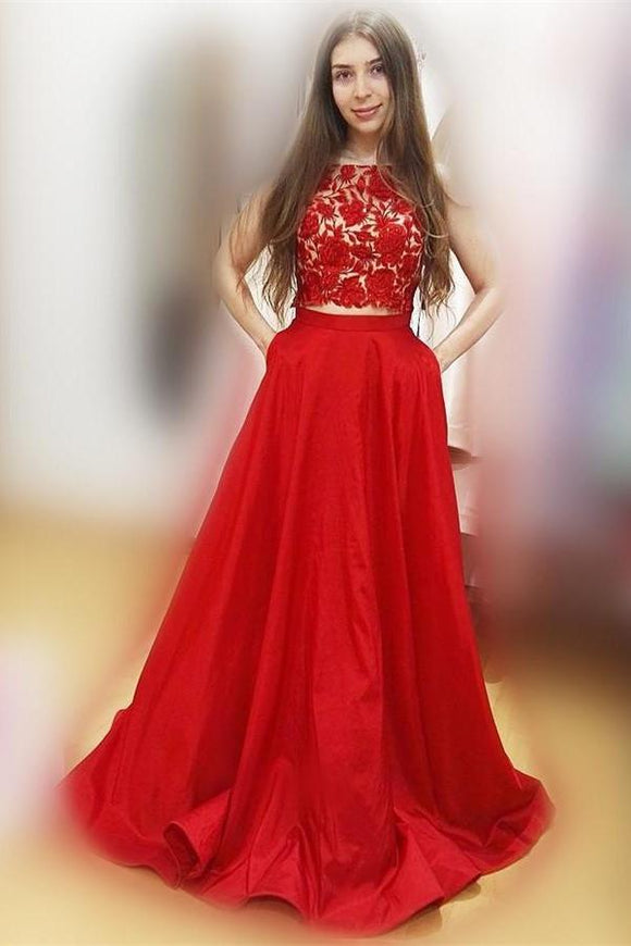 Red Two Pieces Lace Satin A-line Cap Sleeveless Long Party Prom Dresses PFP1043