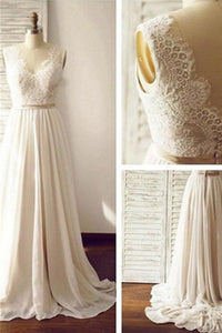 Simple Long Chiffon Lace A-line V-neck Beach Wedding Dresses PFW0268