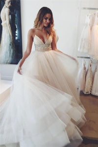 Simple Spaghetti Straps Beaded Long V-neck Tulle Beach Wedding Dresses PFW0270