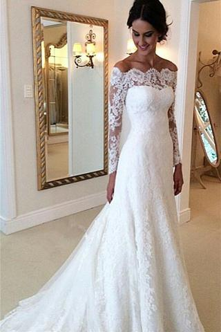 Long Sleeves Lace A-line Boat Neckline Ivory Long Bridal Dress Wedding Dresses PFW0271