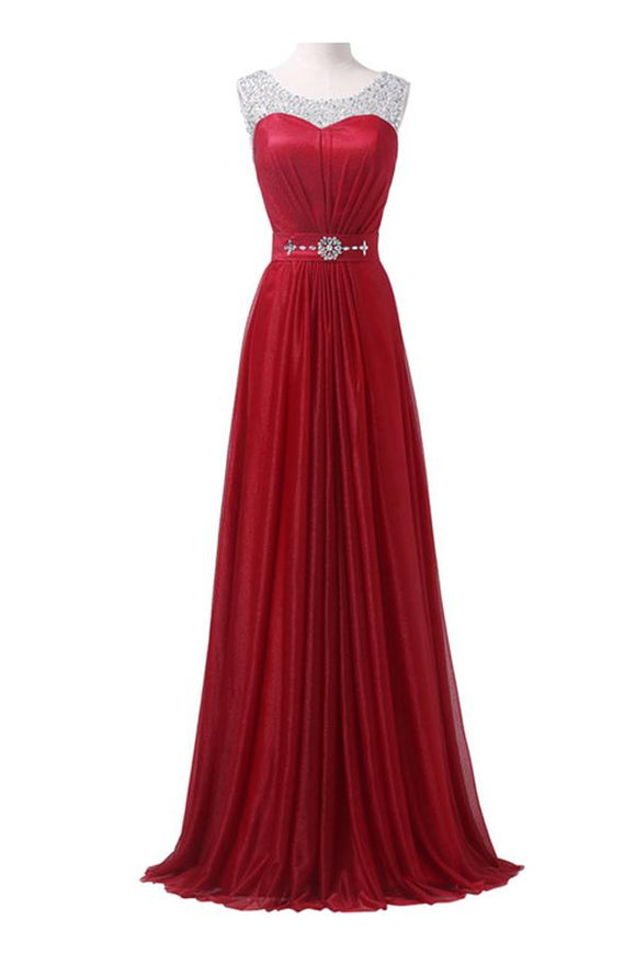 Red Long Beading Sparkly Modest A-line Floor Length Prom Dresses PFP1048