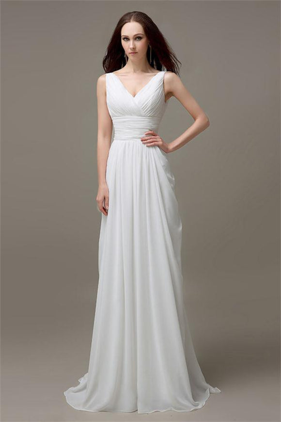 V-neck White Open Back Chiffon Long Simple Plus Size Beach Wedding Dresses PFW0275
