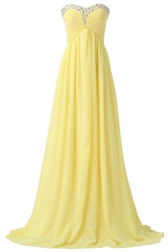 Yellow Chiffon Beaded Strapless Lace Up High Low Pregnant Prom Dresses PFP1050