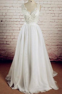 V-neck Ivory Lace Beading Long Handmade A-line Tulle Wedding Dresses PFW0276