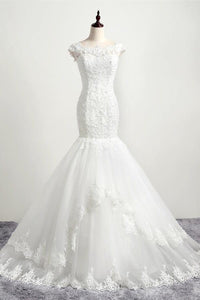 Mermaid Boat Neckline Open Back Lace Up White Long Wedding Dresses PFW0278