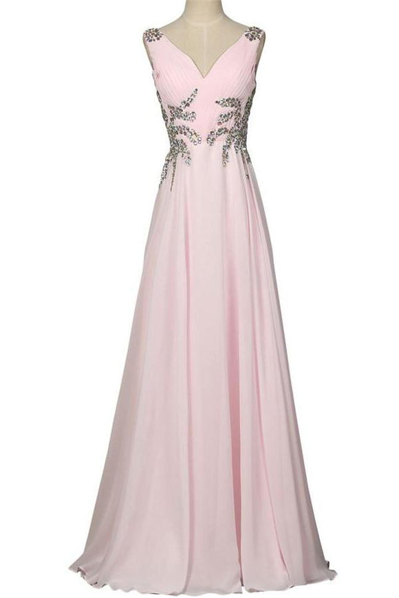 Beautiful Girly Chiffon Long Beading Pink V-neck Backless Prom Dresses PFP1051