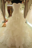 Lace Up Simple Ivory A-line Sweetheart Cheap Plus Size Wedding Dresses PFW0279