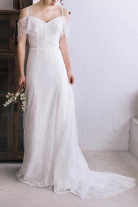 Spaghetti Straps Lace A Line Boho Beach Wedding Dress Simple Bridal Gown