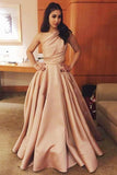 Simple A-Line One-Shoulder Satin Long Cheap Evening Prom Dress PFP0040