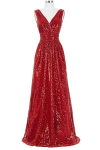 Red Sparkly V-neck Long A-line Backless Cheap Plus Size Prom Dresses PFP1053
