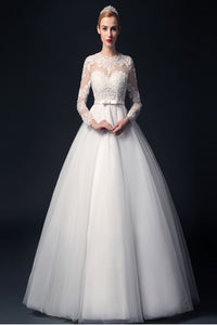 Elegant Handmade Puffy Long Sleeves Lace Wedding Dresses PFW0284