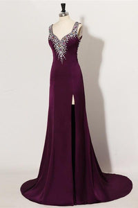 Sweep Train Plum Beaded Long Front Split Mermaid Prom Dresses For Teens PFP1055