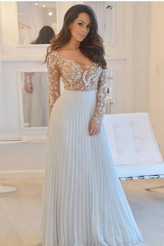A-Line Deep V Neck Long Sleeves Pleats Chiffon Prom Dress with Beading PFP0041