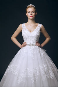 Pretty V-neck White Lace Ball Gown Wedding Dresses With Beaded Belt PFW0285