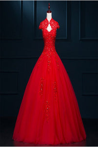 Pretty Red Modest Lace Long Puffy Short Sleeves Wedding Dresses PFW0286