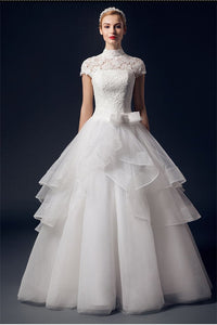 Charming High Neck Short Sleeves Lace Puffy Wedding Dresses PFW0287