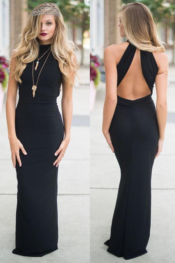 Simple Sexy Long Black Open Back High Neck Sheath Prom Dresses PFP1058