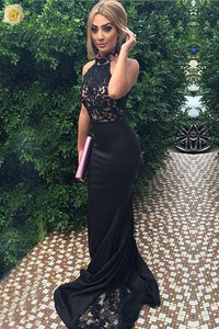 High Neckline Black Lace Mermaid Long Sweep Train Prom Dresses PFP1060