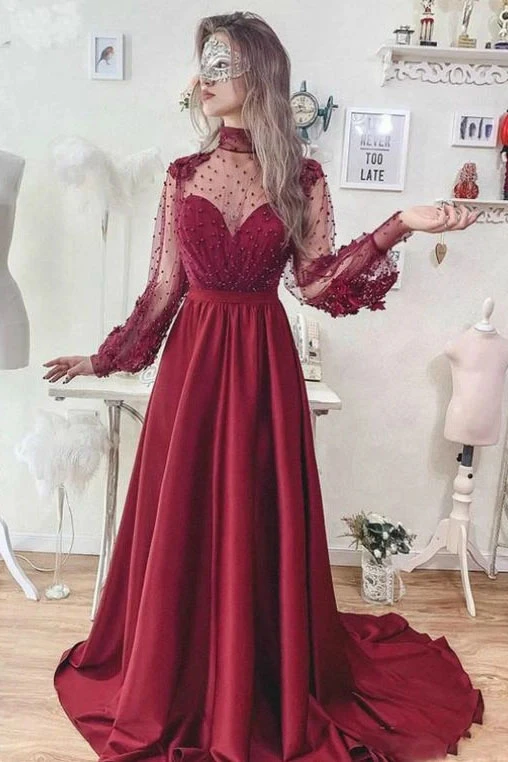 Promfast A-Line Burgundy High Neck Long Sleeve Open Back Prom Dress PFP1869