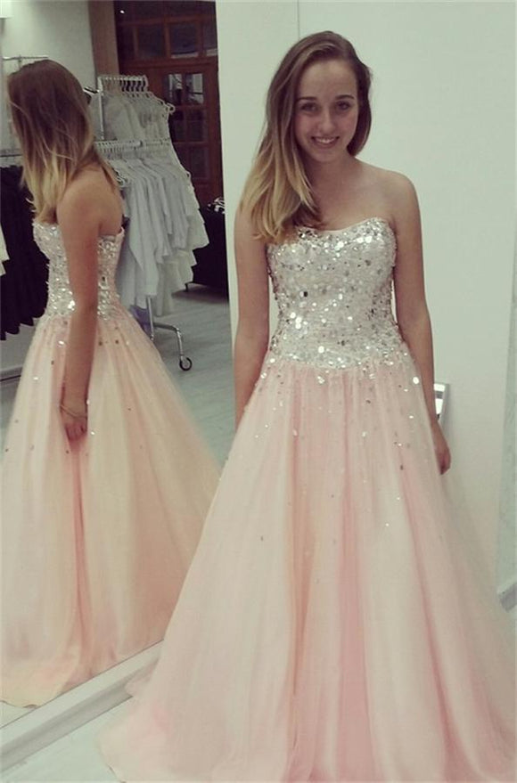 Pink Sweetheart Lace Up A-line Handmade Girly Prom Dresse PFP1063