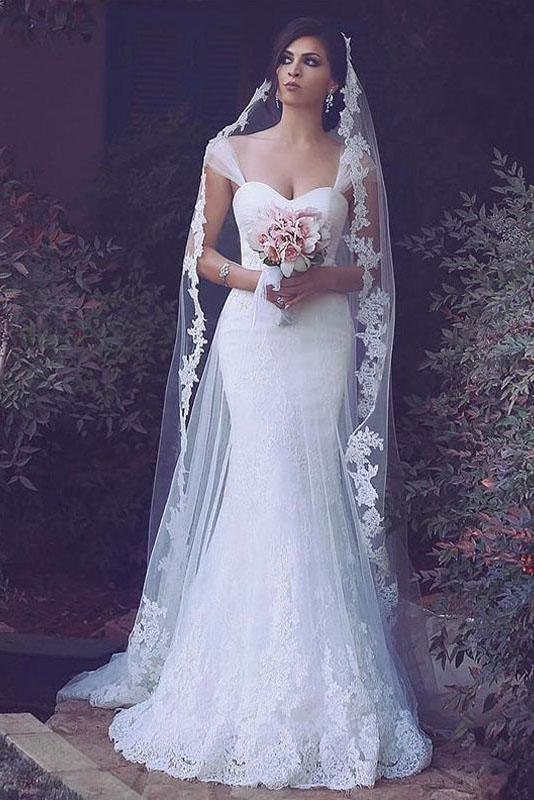 Sheath Tulle Brush Train Sweetheart Wedding Dresses With Appliques