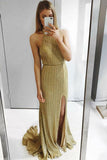 Sexy Sheath Halter Backless Sweep Train Gold Prom Party Dress with Split PFP0043