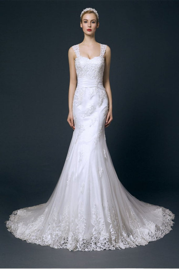 Charming Long Mermaid Lace Wedding Dresses With Straps PFW0292