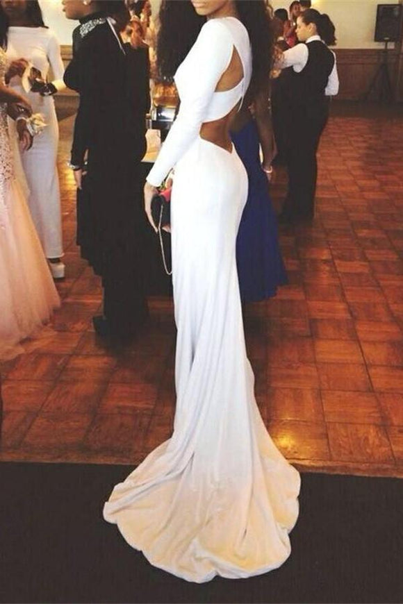 Long Sleeves White Mermaid Long Simple High Quality Cheap Prom Dresses PFP1072