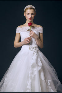 Boat Neck Long Ball Gown Big Wedding Dresses With Flower PFW0293