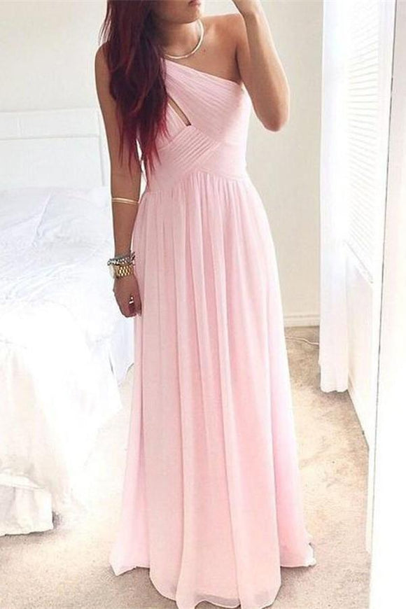Girly Long Pink Chiffon Floor Length Simple High Low Prom Dresses PFP1073
